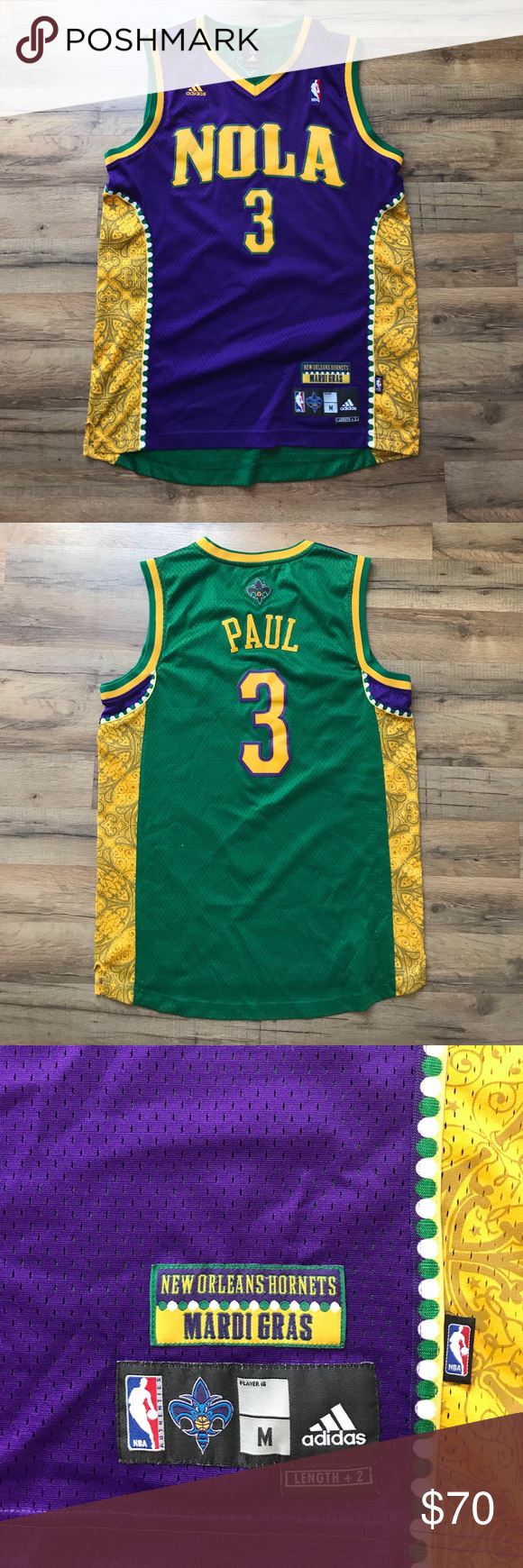64293273cd7 ... official chris paul nola adidas mardi gras jersey chris paul limited  mardi gras jersey. lightly