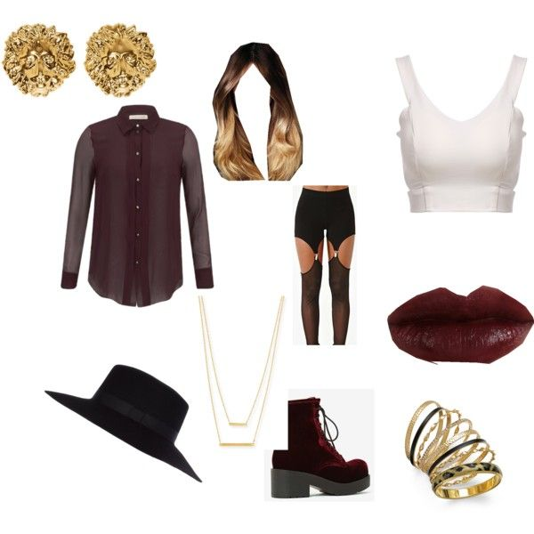 Swoon in Maroon! by ashleyleroy on Polyvore featuring Matthew Williamson, Idle Minds, Jeffrey Campbell, Jennifer Zeuner, Versus, Thalia Sodi and River Island