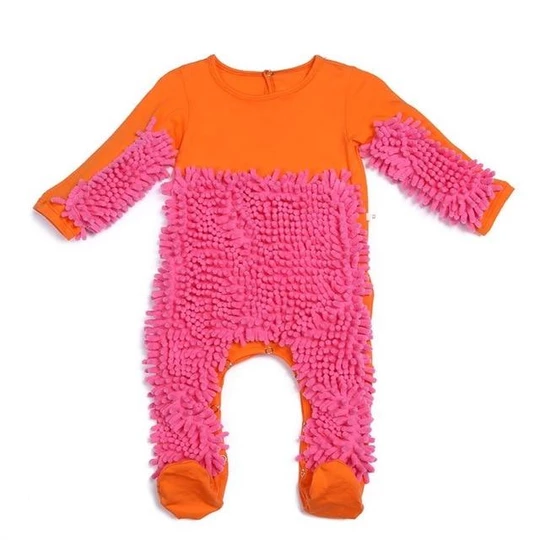 Baby Kid Mop Romper One-piece Crawling Clothes Infant Floor Cleaning Outfits