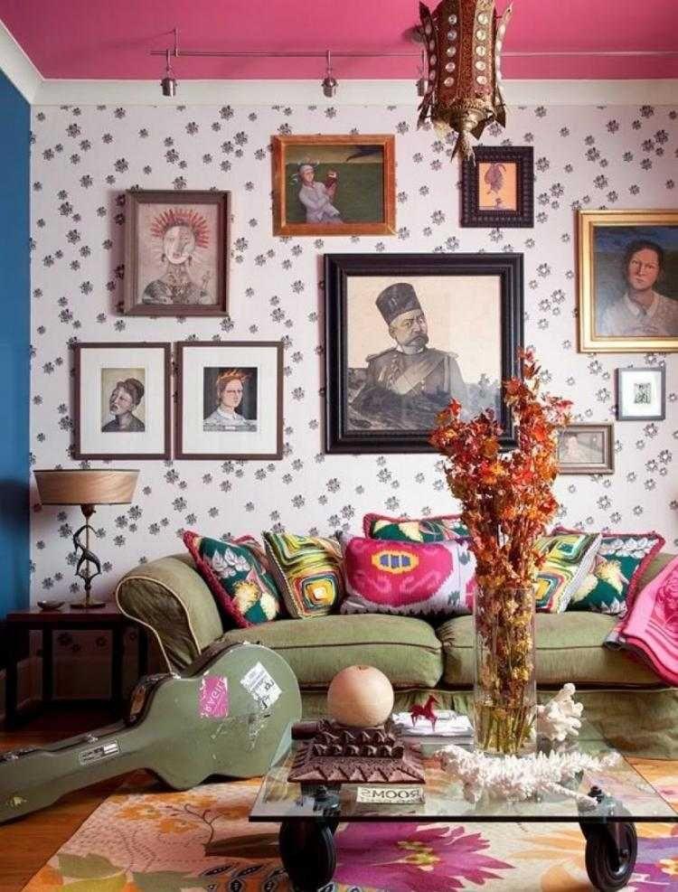 le style hippie chic dans le salon 55 id es fra ches et. Black Bedroom Furniture Sets. Home Design Ideas
