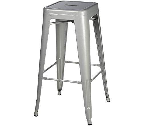 Marvelous 30 Inch Backless Square Seated Metal Bar Stool Set Of 4 Inzonedesignstudio Interior Chair Design Inzonedesignstudiocom
