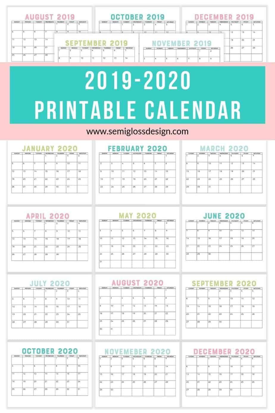 Download A Free 2020 Calendar Printable Calendar Printables