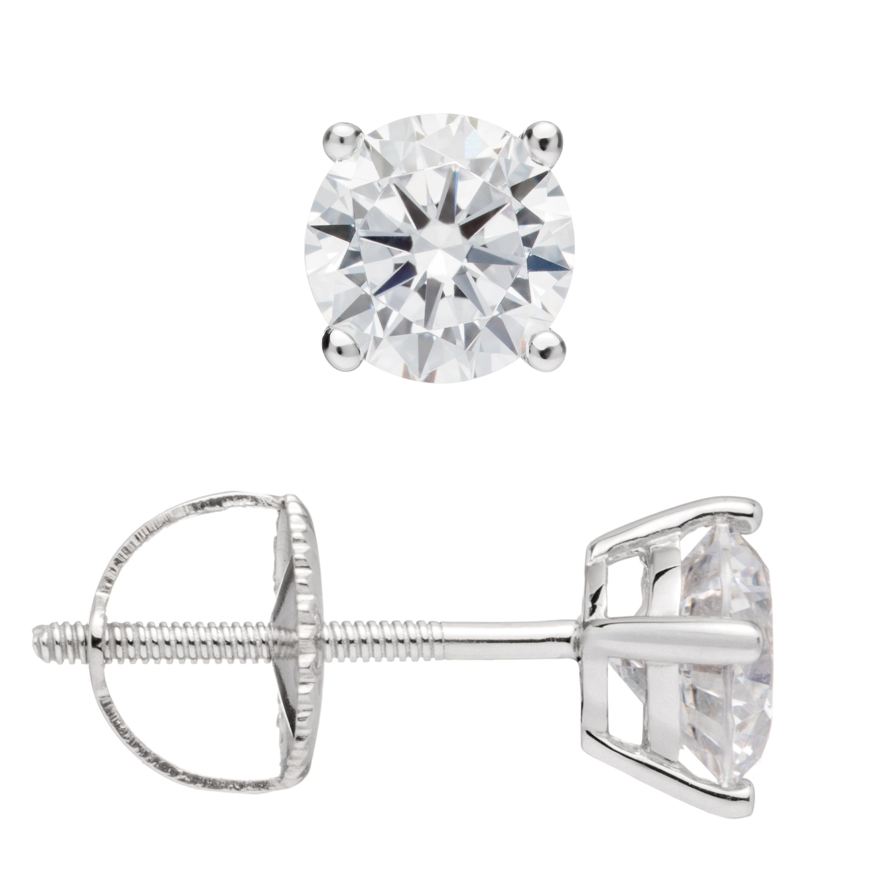 c68fdd64aa9 14K Solid White Gold Round Cut Cubic Zirconia Stud Earrings