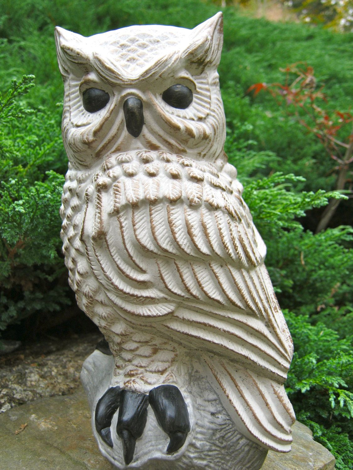 Owl Perched On Stump, Painted Owl Concrete Statue, Bird Garden ...
