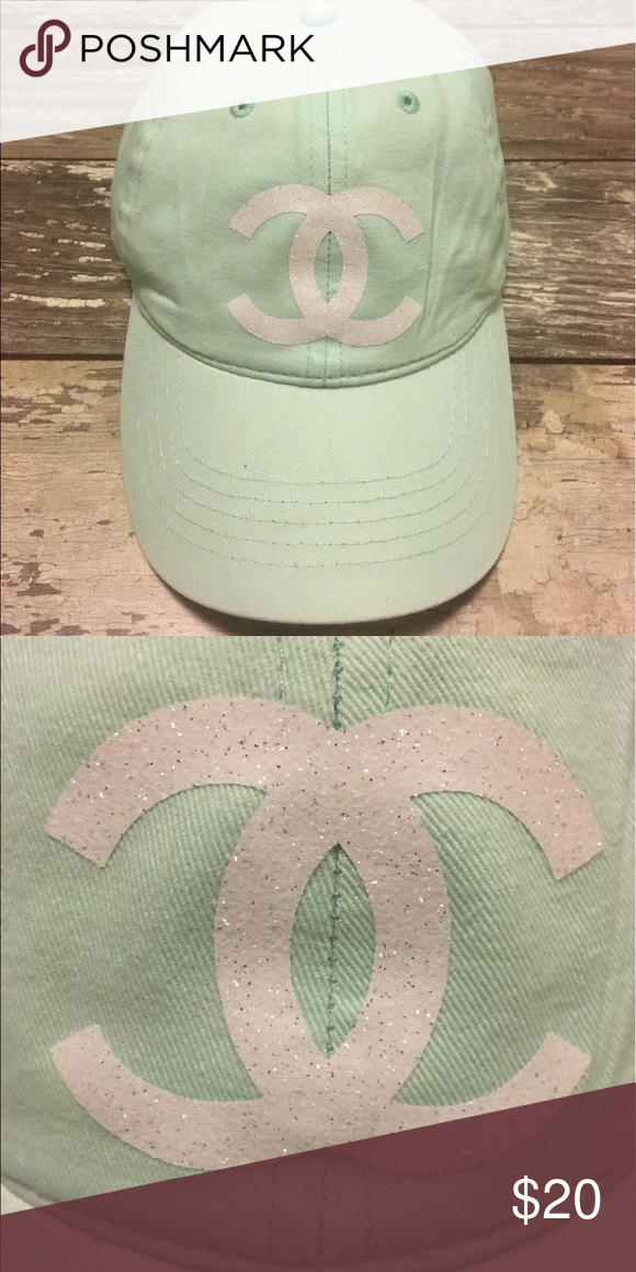 Chanel dad hat strapback cap mint green white new Chanel dad hat. Strapback  classic mint green with white bling logo. Brand new Accessories Hats b4a5848b43d