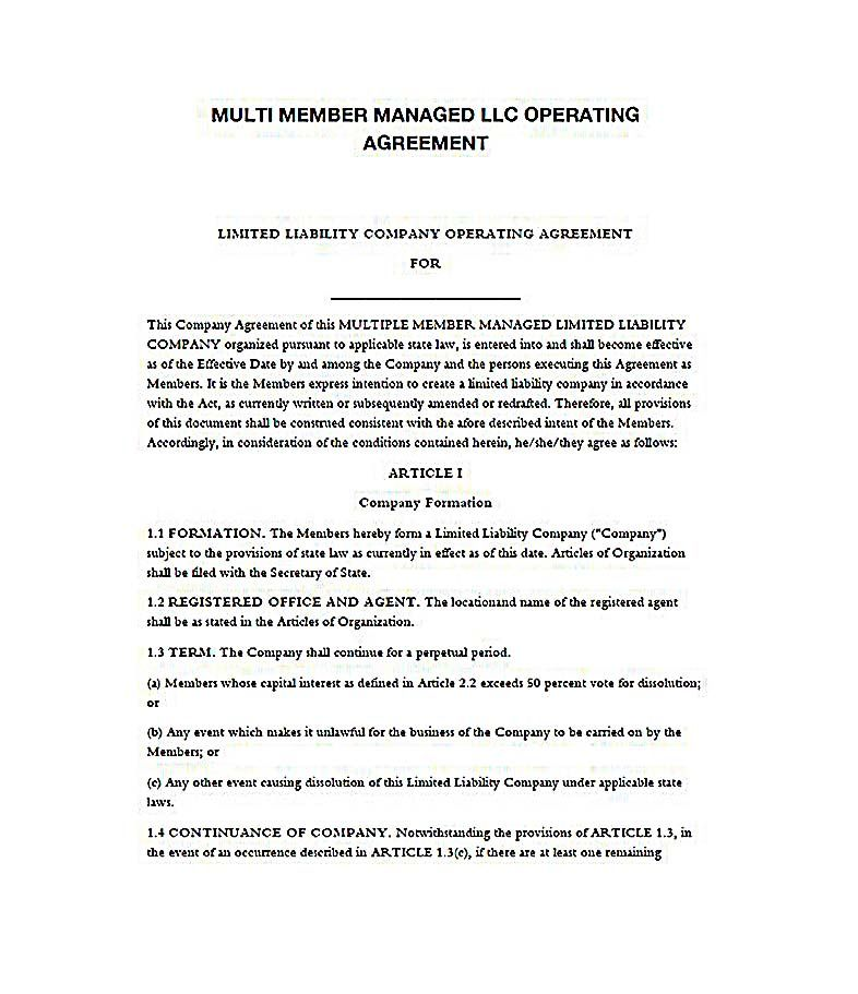 Operating Agreement For Llc 23 Llc Operating Agreement Template