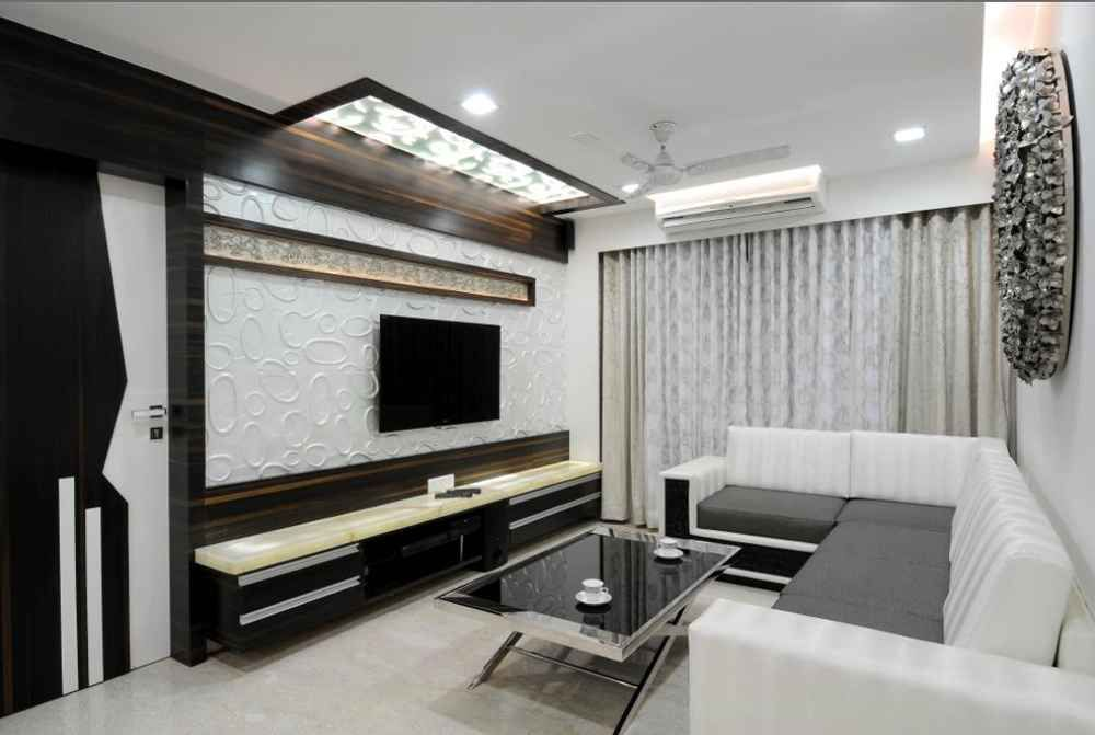 Large Living Room With Texture Wall By Ambati Chandra Shekhar Interior Designer In Vishakhapatnam
