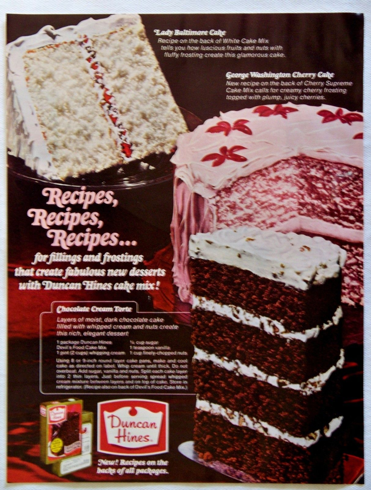 Vintage 1967 Duncan Hines Cake Mix Magazine Ad Vintage Recipes