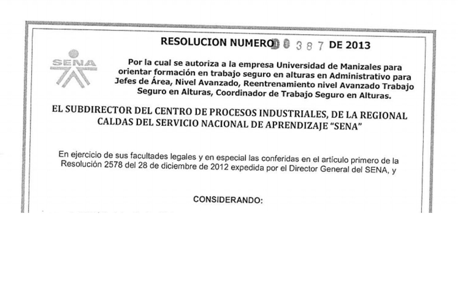 SGSST   Autorizacion del SENA para dar Formación en Trabajos de Altura en…
