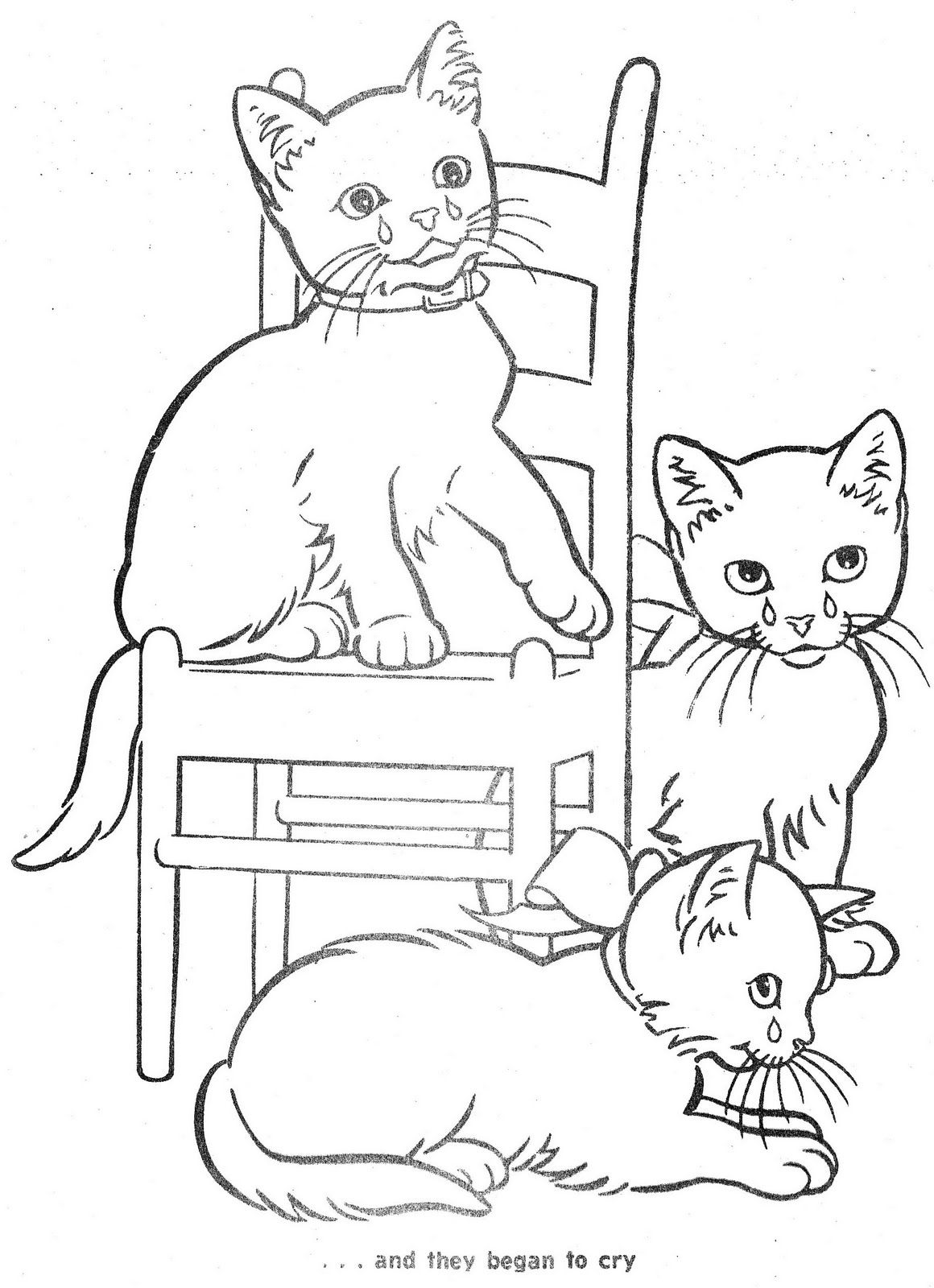 The Three Little Kittens Cat Coloring Page Coloring Books