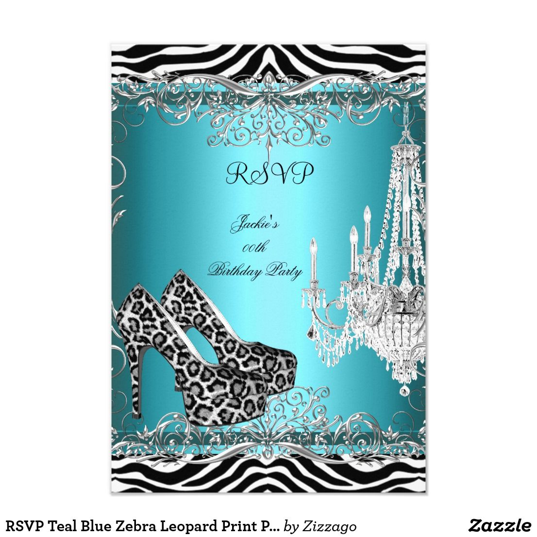 RSVP Teal Blue Zebra Leopard Print Party Shoes Card Reply Response High Heel Any Event Invitation
