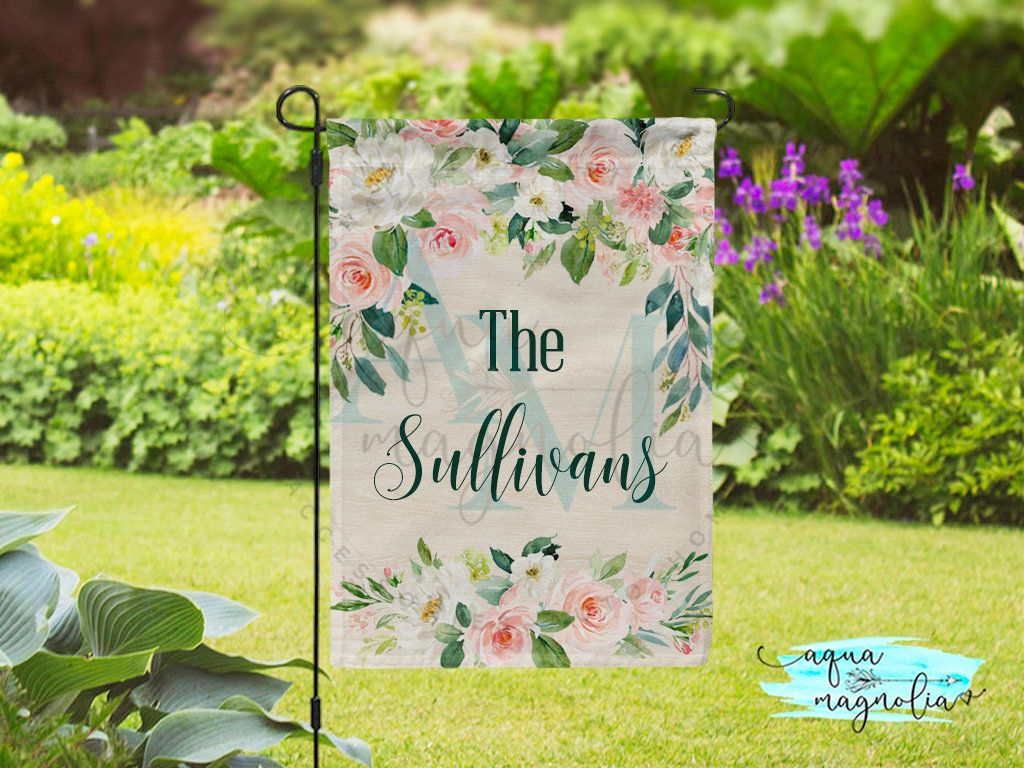 Personalized Garden Flag Blush Floral Custom Yard Flag Home Decor Double Sided X Large Flag Personalize Personalized Garden Flag Garden Flags House Flags