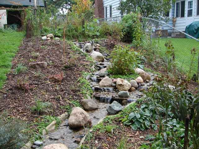 Rock on a roll stream at completion gardening for Waterfall pond liners