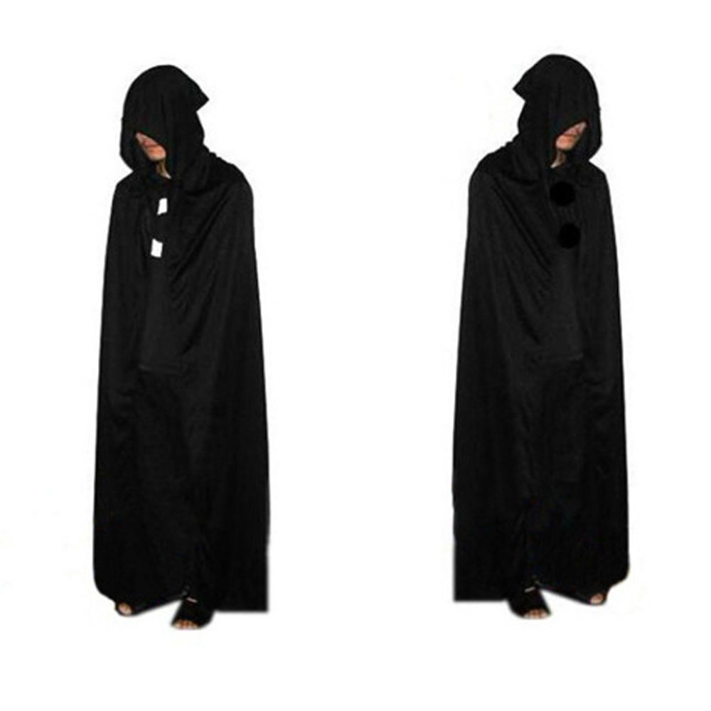 Halloween Hooded Cloak Cowl Gothic Medieval Witch Wizard Devil Cape Costume Prop