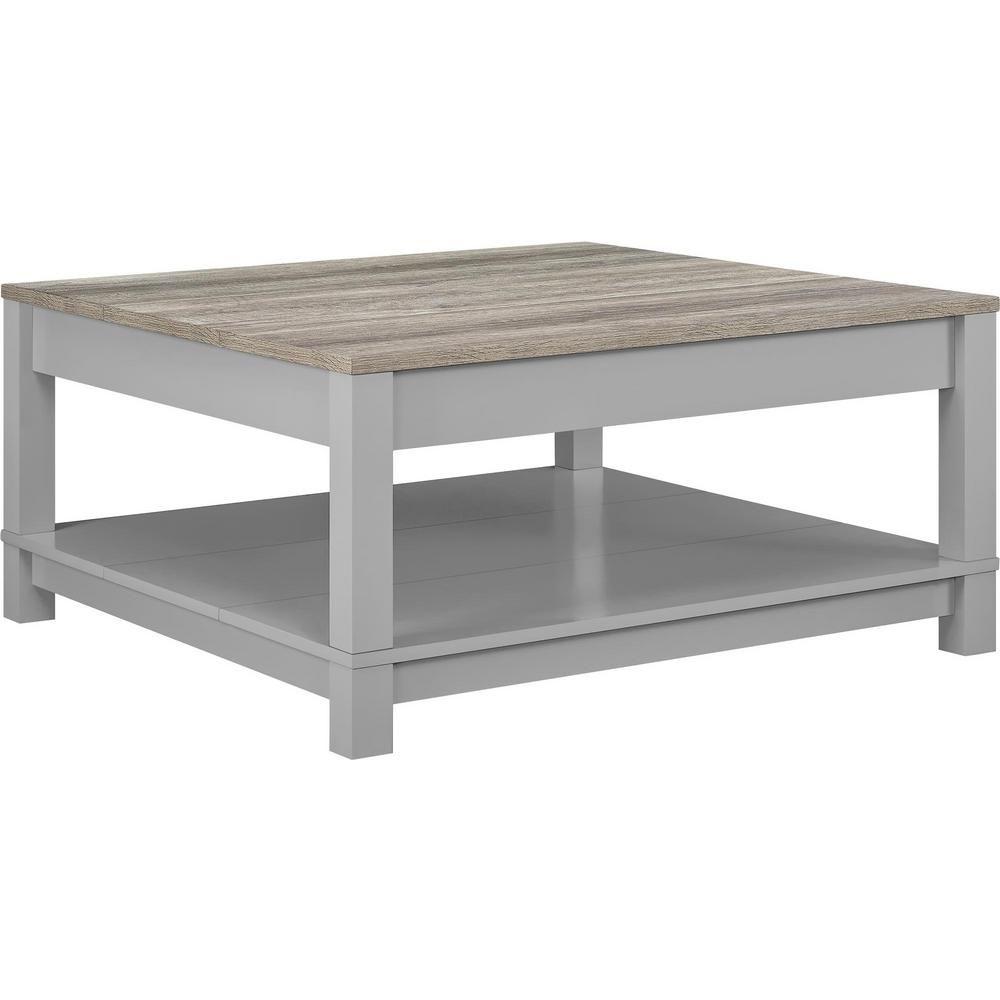 Ameriwood Home Viola Gray And Sonoma Oak Coffee Table Gray Sonoma Oak Finish Grey Wood Coffee Table Reclaimed Wood Coffee Table Coffee Table Grey