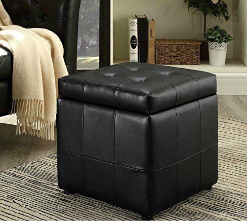 Leather Storage Coffee Table Ottoman Tufted Modern Footstool Chair