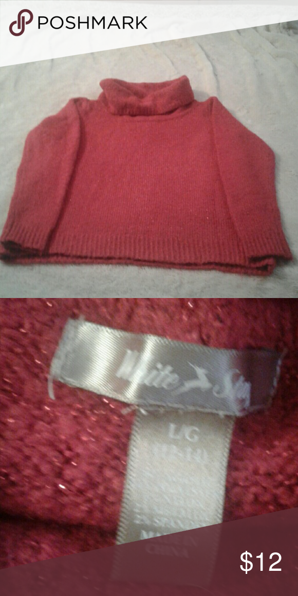 Sweater Sparkle Pretty red cowl neck sweater White Stag Sweaters Cowl & Turtlenecks