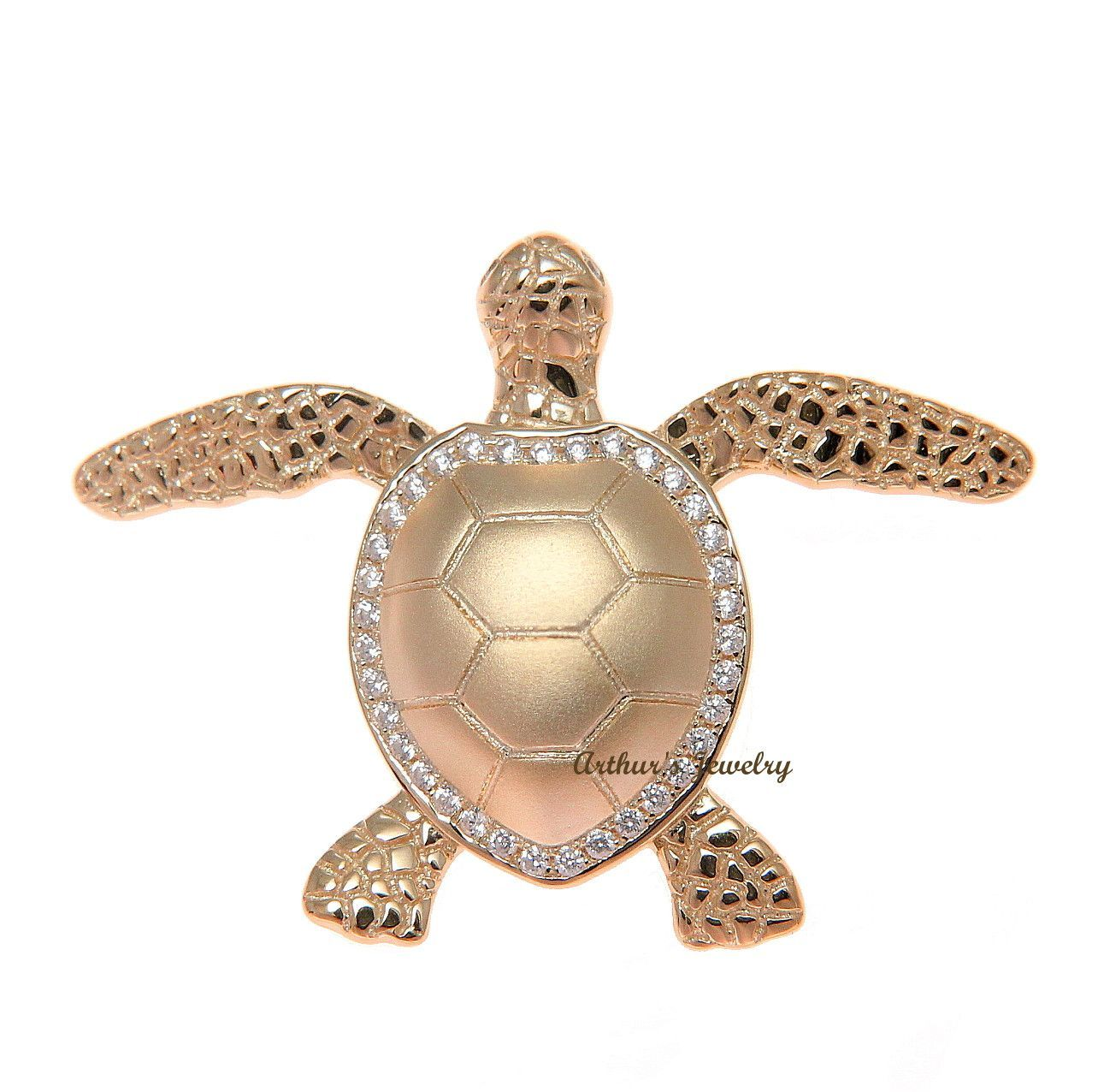Arthurs Jewelry 925 sterling silver rhodium plated Hawaiian swimming sea turtle cz pendant