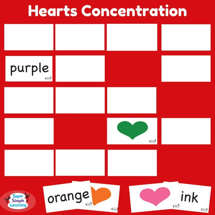 Fun and versatile Hearts Concentration game from Super Simple Learning. Great for color identification and beginning readers. There\u0027s so many ways to play ...