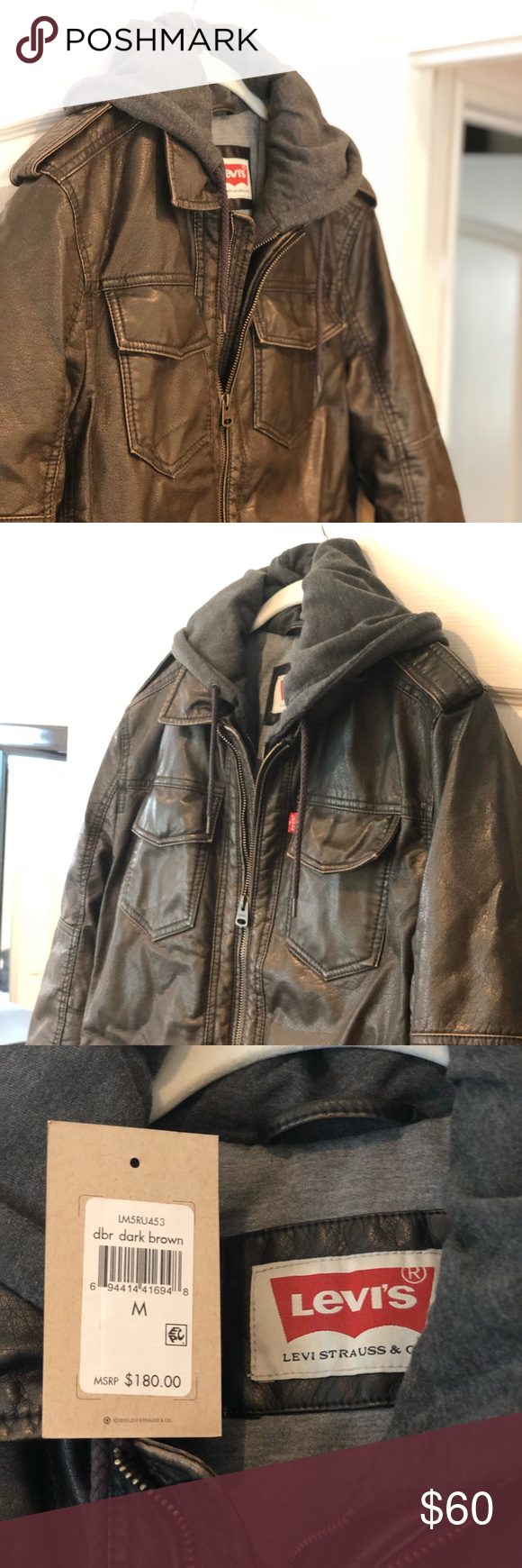 Levi's Dark Brown leather jacket with hood Leather