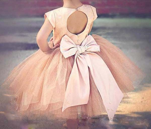 Toddler Kids Baby Girls Long Sleeve Tulle Flower Bow Dress Mid-Calf Prince Dress