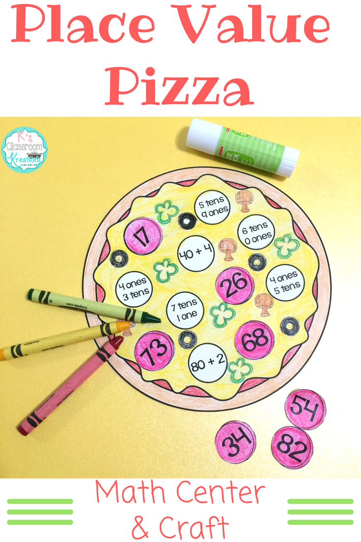 Practice First Grade Place Value Skills With This Fun Pizza Themed Math Center And Craft Math Crafts Math Center Math Craftivity [ 1102 x 735 Pixel ]
