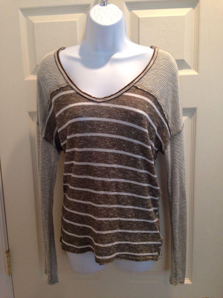 29e01ecd1 Women s Free People V Neck Oversized Distressed Striped Sweater ...