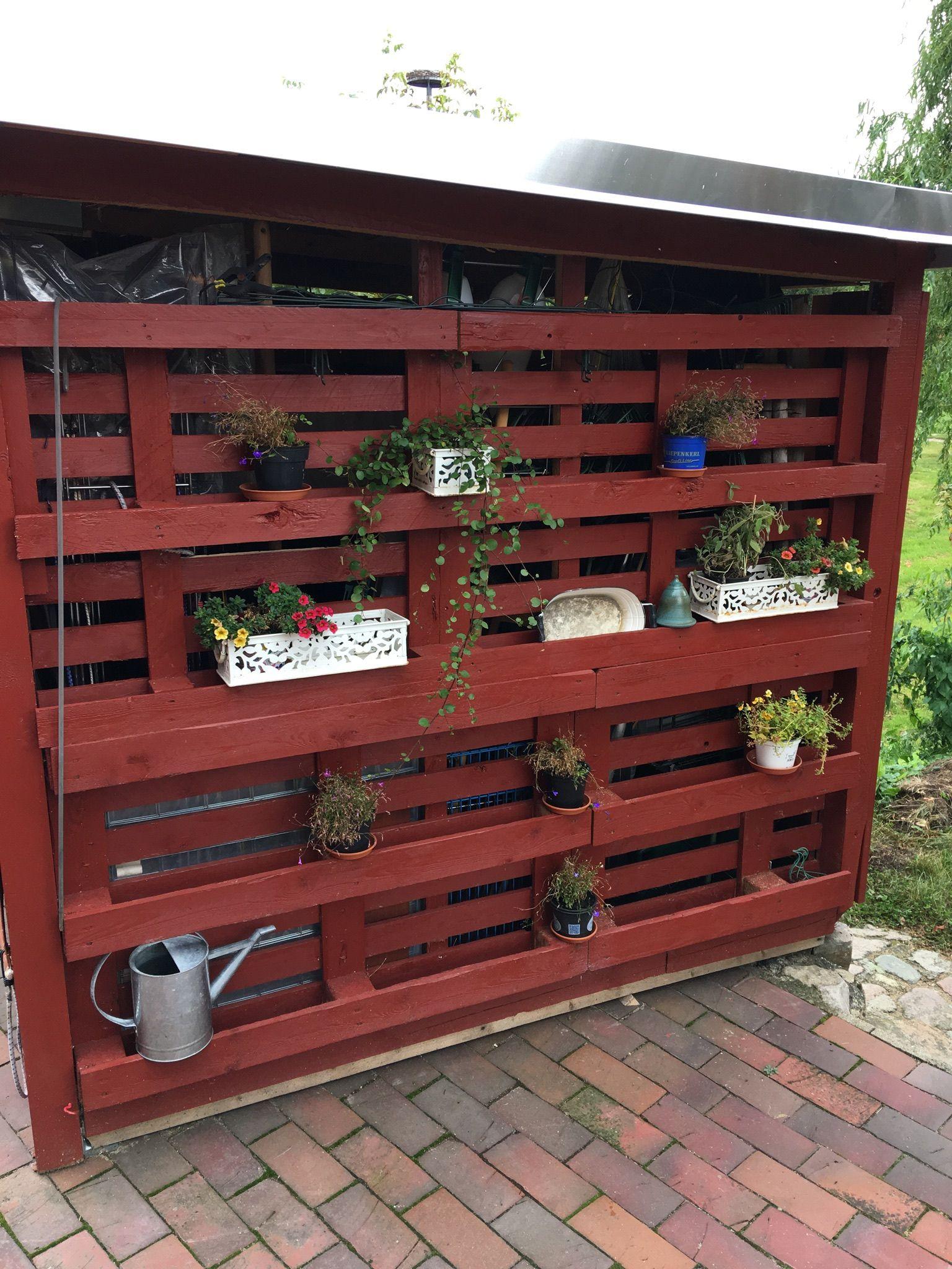 Regal Terrassen Sichtschutz Blumenständer Shabby Skanidavien Aus Paletten  Selbstgebaut