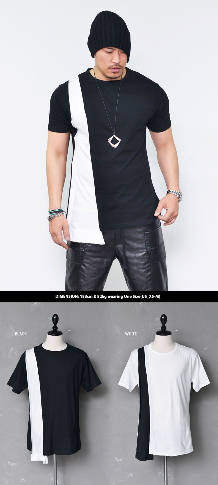 Tops :: Tees :: Edge Triangle Extended Contrast Round-Tee 520 - Mens Fashion Clothing For An Attractive Guy Look