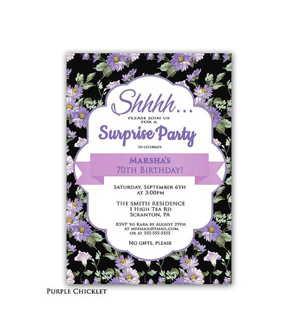 Surprise Invitation Purple 70th Birthday Party Invitation Elegant