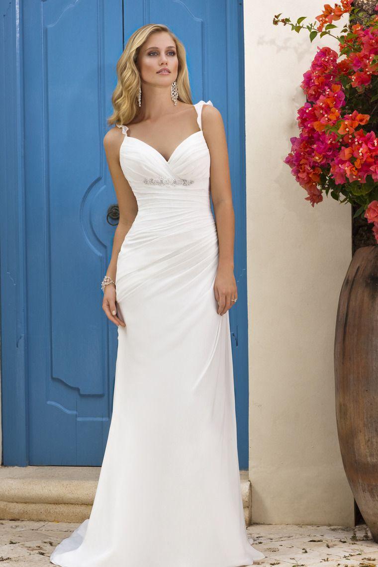 2013 Beach Wedding Dresses Straps Open Back Chiffon Sheath Court ...
