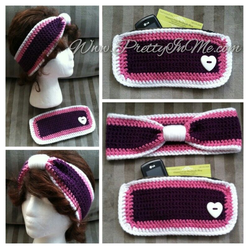 Crochet turban style ear warmer with matching zippered clutch purse - cute combo!