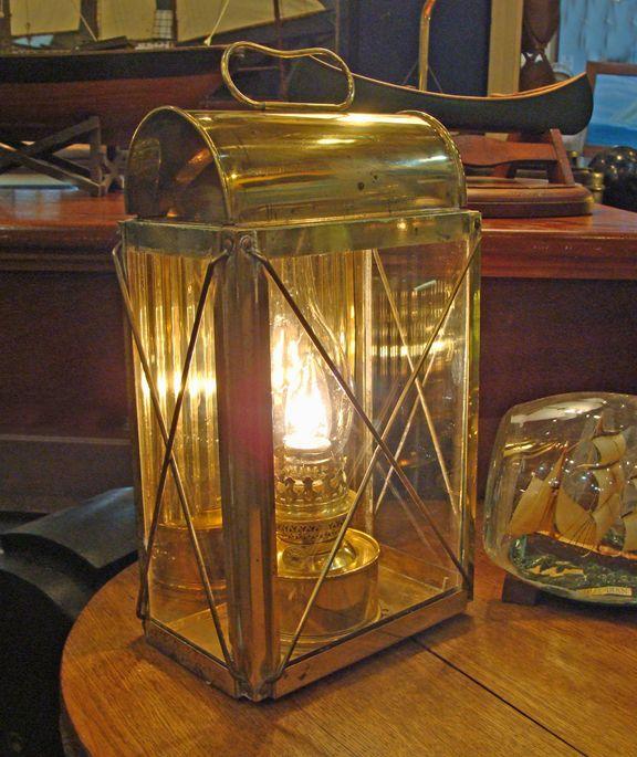 Nautical Shade For Vintage String Lights: Vintage Brass Cabin Lantern- Nautical Lamps Lighting