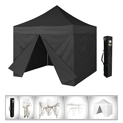 10x10 Eurmax Black Pop Up Canopy With Side Walls Instant Tent