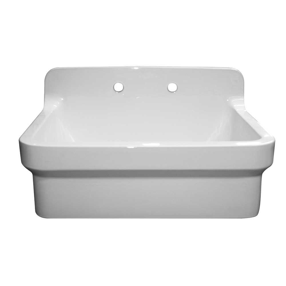 Whitehaus Old Fashioned Country Fireclay Utility Sink With High