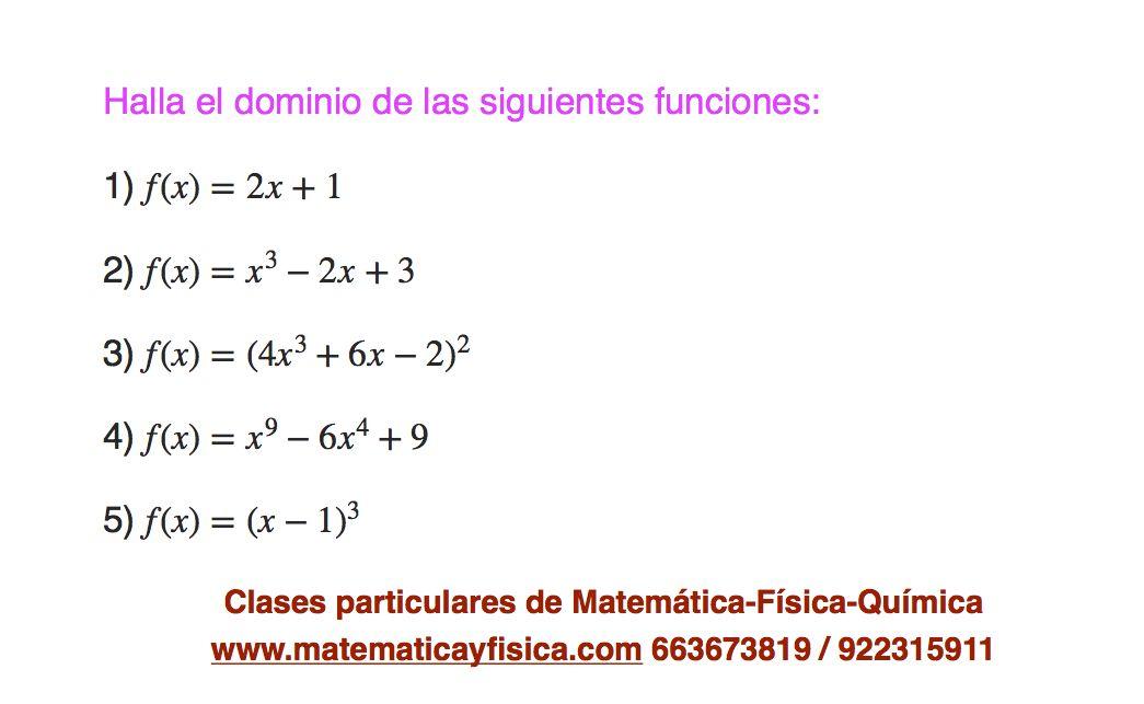 Dominio Funciones Polinómicas Química Ejercicios Física