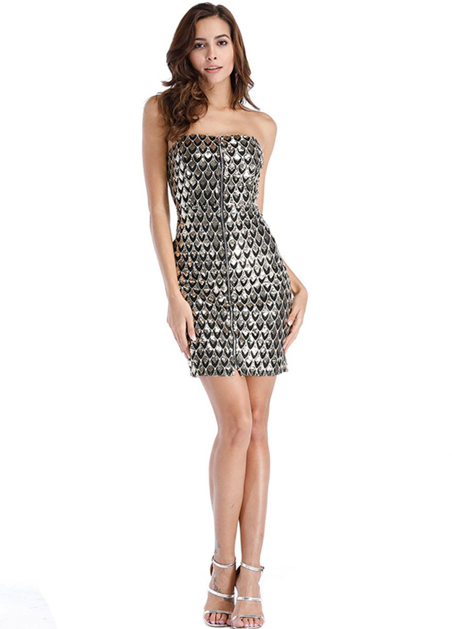 fc48e6e456f Zip Front Strapless Bodycon Sequins Dress Club Dress Clubwear Clothing Sexy  Lingeire