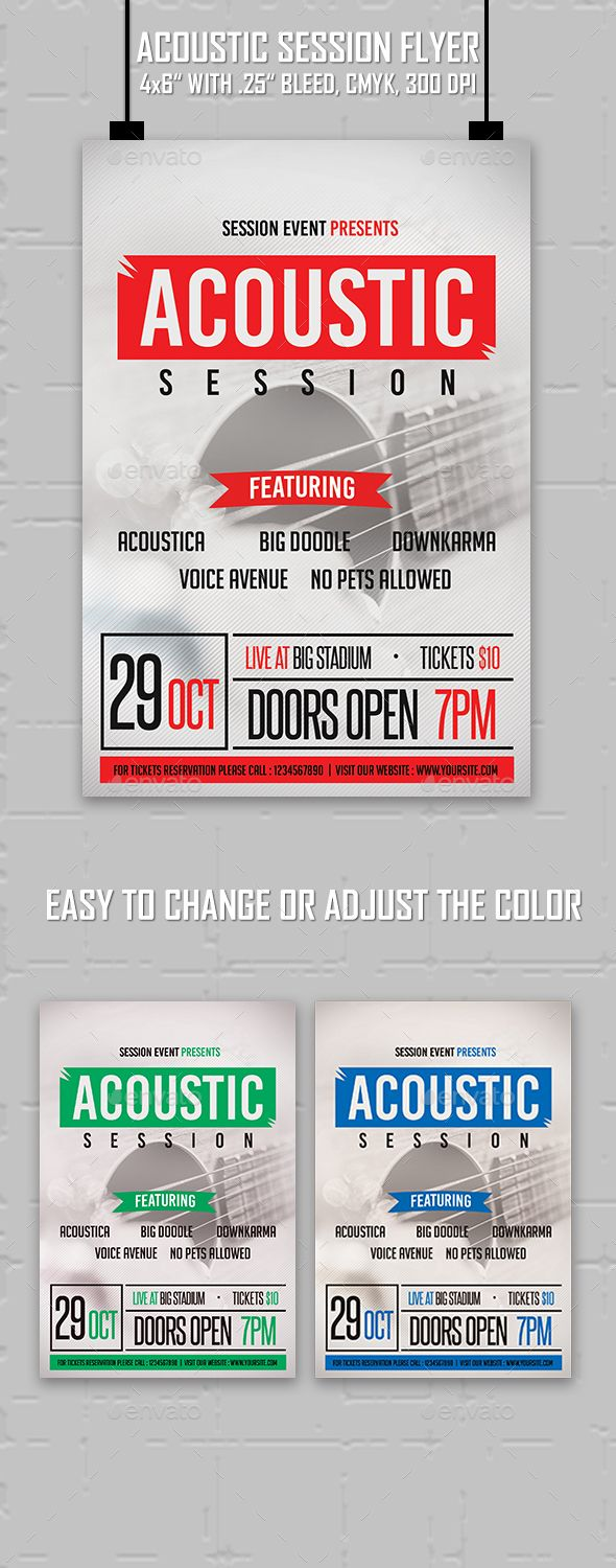 Acoustic Session Flyer Template #design Download: http://graphicriver.net/item/acoustic-session-flyer/13029769?ref=ksioks