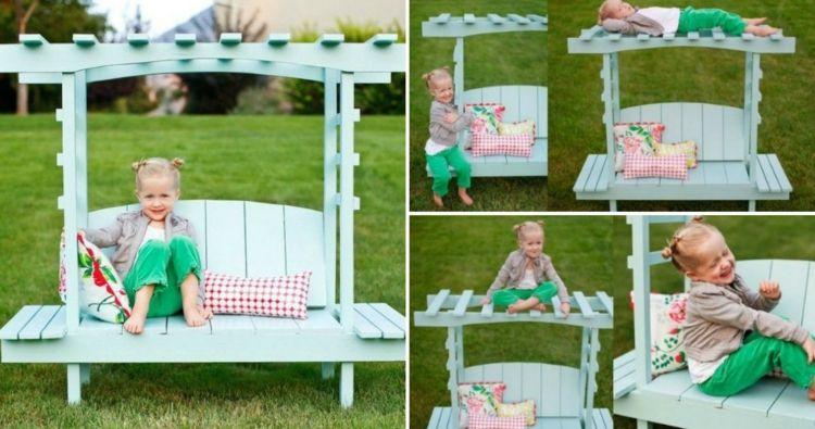 Garten Fur Kinder Mit Sympathischer Sitzbank Gestalten Garten