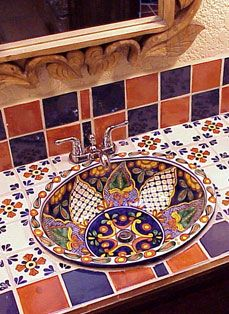 Charming Talevera Tile Accents And Hand Painted Mexican Sink.