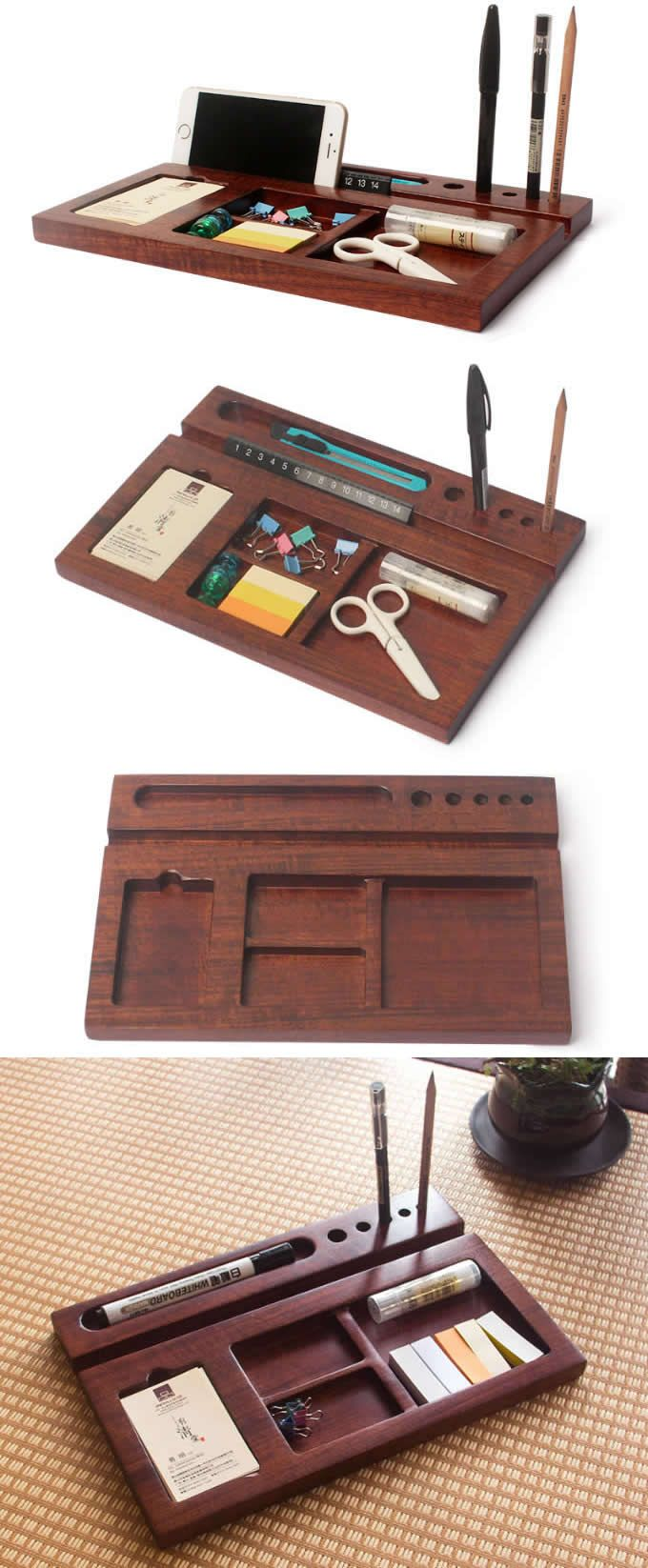 Bamboo Wooden Office Desk Stationery Organizer Tray Pen Pencil Holder Stand Iphone Ipad Smart Phone Woodworking Storage Woodworking Techniques Woodworking Lamp