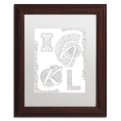 """Trademark Art 'Letters & Words XXVI' by Hello Angel Framed Graphic Art Size: 14"""" H x 11"""" W x 0.5"""" D, Matte Color: White"""