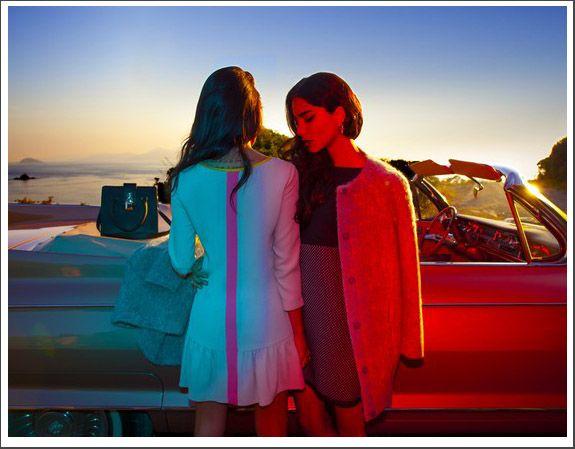 Chiara Biasi and Ana Moya Calzado #chiarabiasi #anamoyacalzado #patriziapepe * Chiara Biasi and Ana Moya Calzado wear the sixties style of the Capsule Collection by Patrizia Pepe