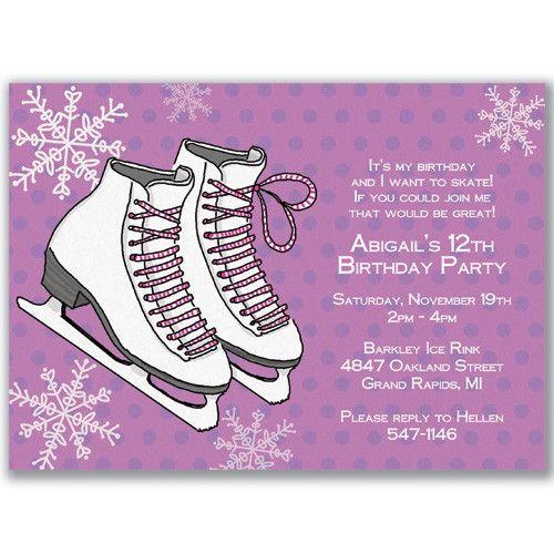 ice skating birthday party invitations