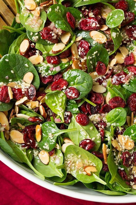Spinach Salad (with Cranberries and Almonds) - Coo