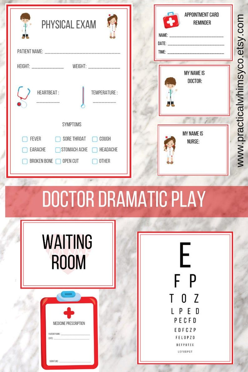 Pretend doctor digital download, hospital preschool printables instant download, clinic preschool curriculum