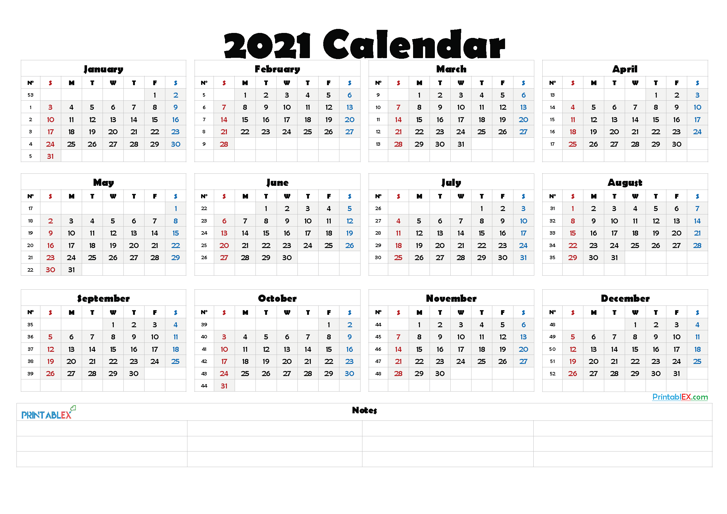 2021 Calendar With Week Number Printable Free / 2021 Free ...