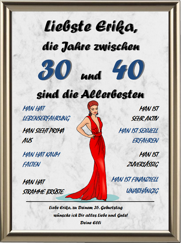 Eine Frau zwischen 30 und 40   zum 30.   Geburtstag   Urkunden-Shop24   Geschenk frau 30