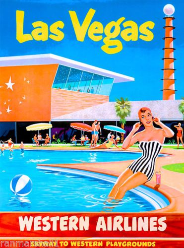 Las Vegas Nevada Airlines United States America Travel Advertisement Poster Vintage Travel Posters Vintage Airline Posters Retro Travel Poster