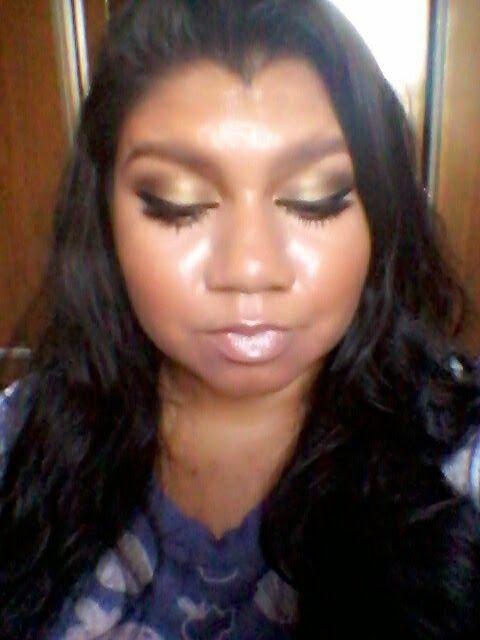 Meu delineador: Fotorial-Maquiagem Dourada